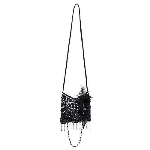 Boland 36000 - Handtasche Flapper, schwarz, Pailletten, Perlen, Federschmuck, Glitzer, 18cm, Charleston, 20er Jahre,...