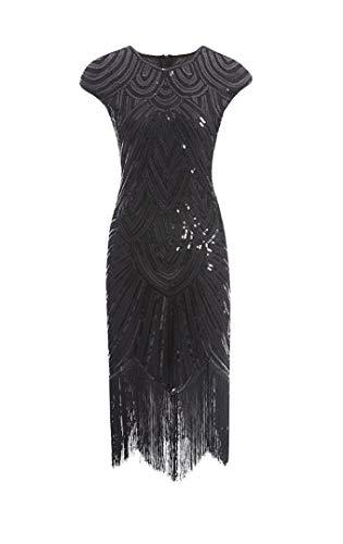 shoperama 20er Jahre Charleston Kleid Pailletten Fransen Flapper Gatsby 20's Fransenkleid Damen-Kostüm, Größe:S,...