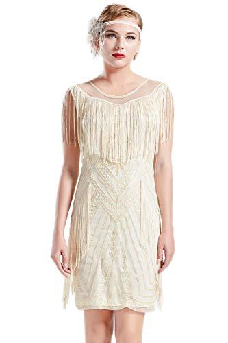 Coucoland 1920s Kleid mit Troddel Stola Damen Gatsby Abendkleid Cocktail Party Damen 20er Jahre Kostüm Kleid (Beige, S)
