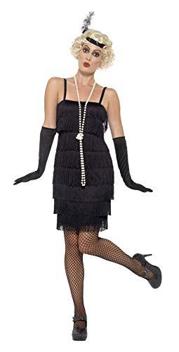 Smiffys 45498S, Damen Flapper Kostüm Kurzes Kleid Haarband und Handschuhe,schwarz,36-38(Herstellergröße:S)