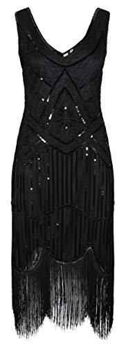 Ro Rox 1920er Jahre Great Gatsby Kleid - Schwarz (L - 40)