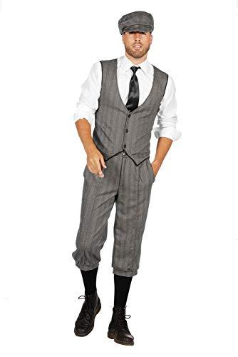 shoperama 20er Jahre Peaky Blinders Anzug Knickerbocker Herren-Kostüm Schwarz-Weiß Weste Schiebermütze The Roaring...