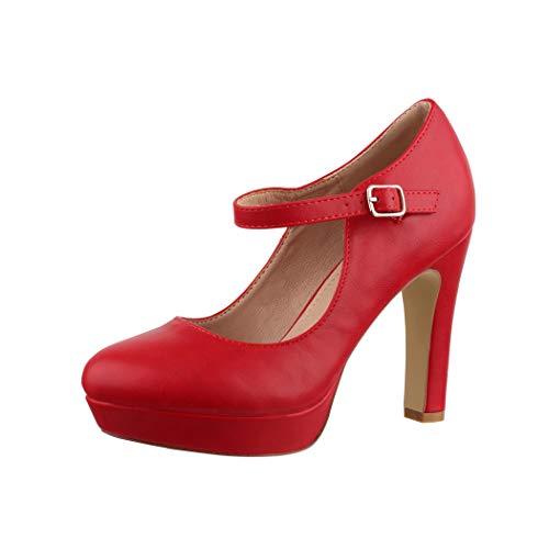 Elara Damen High Heels Pumps Riemchen Vintage Chunkyrayan E22320 Red-36