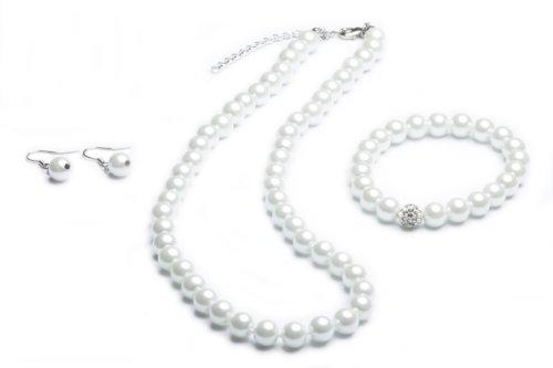 FlexiStore Perlenkette geknotet - Perlenarmband - Perlenohrringe - Set Weiss