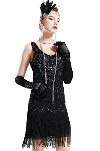 BABEYOND Damen Retro 1920er Stil Flapper Kleider mit Zwei Schichten Troddel V Ausschnitt Great Gatsby Motto Party...