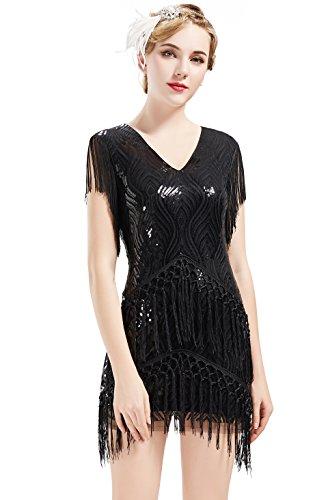 ArtiDeco 1920s Charleston Kleid Mini Damen Vintage Gatsby Kostüm Flapper 20er Jahre Cocktailkleid (Schwarz, M)