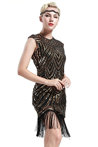 BABEYOND Damen Kleid voller Pailletten 20er Stil Runder Ausschnitt Inspiriert von Great Gatsby Kostüm Kleid (S (Fits...