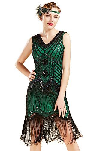 BABEYOND Damen Flapper Kleider voller Pailletten Retro 1920er Jahre Stil V-Ausschnitt Great Gatsby Motto Party Damen...