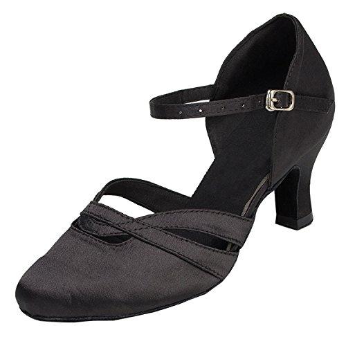 MINITOO Damen Latin Salsa Low Heel Schwarz Satin Tanzschuhe Party Schuhe EU 41
