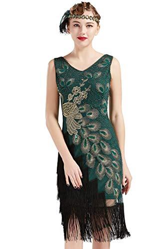 Coucoland 1920s Kleid Damen Pfau Flapper Charleston Kleid V Ausschnitt Great Gatsby Motto Party Damen Fasching Kostüm...