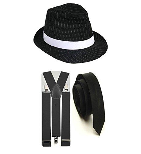 Nadelstreifen-Hut mit passenden Hosenträgern und Krawatte, im 1920-ern-Gangster-Stil, Party-Kostüm von Trilby Fedora...
