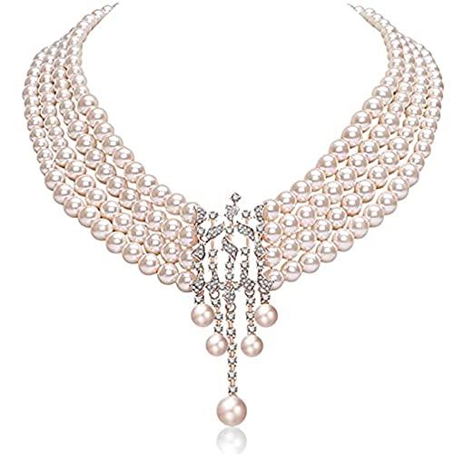 MGW Charleston 20er Jahre Perlenkette Halskette mit Perlen weiße Kette für Burlesque Kostüm Kleid Outfit Accessoire