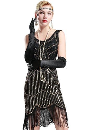 BABEYOND Retro 1920s Stil Damen Kleid Karneval Flapper Kleid V Ausschnitt Troddel Gatsby Mottoparty Damen Kostüm Kleid...