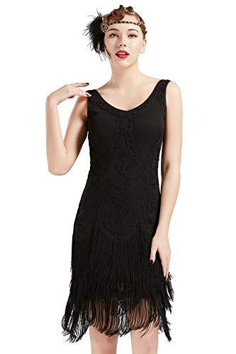 Coucoland 1920s Kleid Damen Flapper Kleid ohne Ärmel V Ausschnitt Knielang Charleston Kleid Gatsby Motto Party Damen...