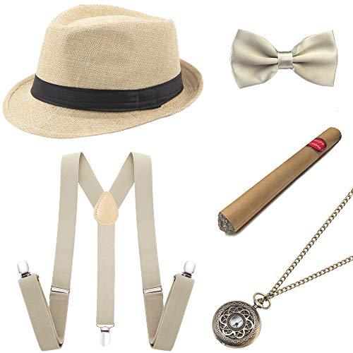 Coucoland 1920s Herren Accessoires Mafia Gatsby Kostüm Set inklusive Panama Gangster Hut Verstellbar Elastisch...
