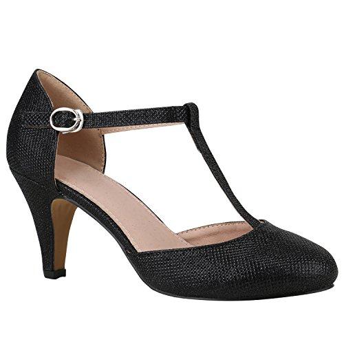 Damen Schuhe Pumps Mary Janes Blockabsatz High Heels T-Strap 156187 Schwarz T-Strap 38 Flandell