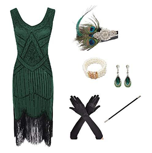 shoperama 20er Jahre Charleston Flapper Damen-Kostüm Grün Pailletten-Kleid mit Fransen und 5-TLG. Pfau Zubehör-Set,...