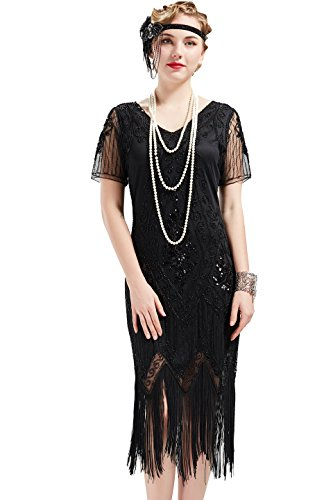 BABEYOND 1920s Kleid Damen Flapper Kleid mit Kurzem Ärmel Gatsby Motto Party Damen Kostüm Kleid (Schwarz, XL)