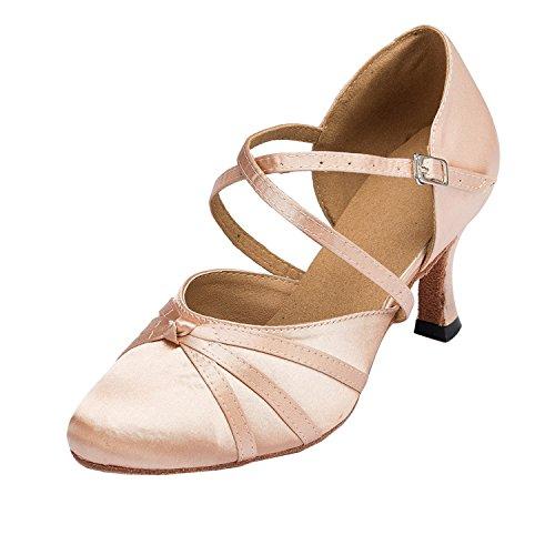 MINITOO Damen Latin Salsa Ankle Strap Bronze Satin Tanzschuhe Hochzeit Prom Pumps EU 41