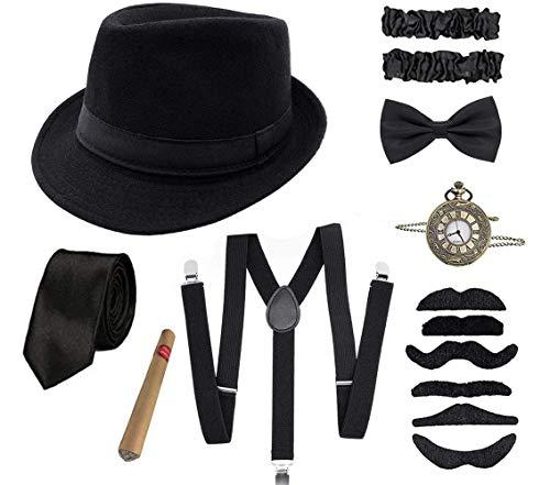 Shalwinn 1920s Jahre Herren Accessoires 20er Gangster Kostüm Mafia Gatsby Kostüm Zubehör Set mit Elastisch...