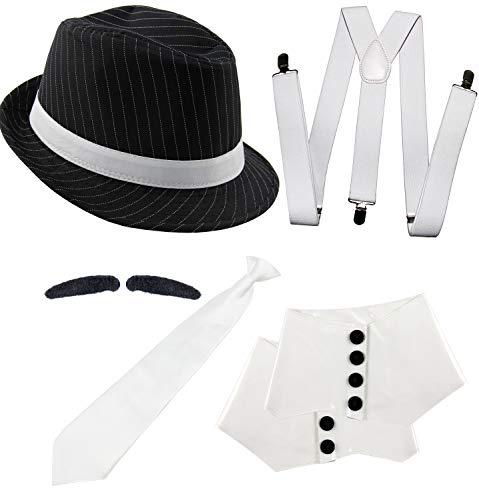 Foxxeo 20er Jahre Gangster Kostüm Set für Herren - Hosenträger Krawatte Hut Gamaschen Bart – für Fasching Karneval...