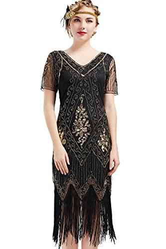 BABEYOND 1920s Kleid Damen Flapper Kleid mit Kurzem Ärmel Gatsby Motto Party Damen Kostüm Kleid (SchwarzGold, XL)