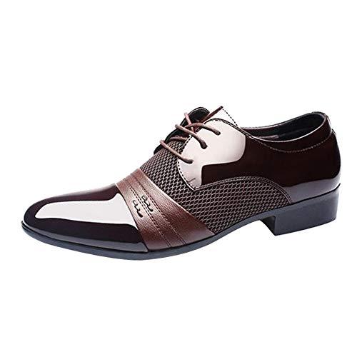 Celucke Herren Anzugschuhe Business Oxford Schuhe, Lederschuhe Schnürhalbschuhe Smoking Lackleder Hochzeit Derby Leder...