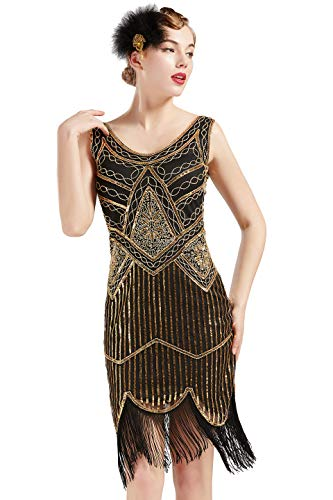 ArtiDeco Damen Pailletten 1920s Kleid Flapper Charleston Kleid V Ausschnitt Great Gatsby Motto Party Damen Fasching...