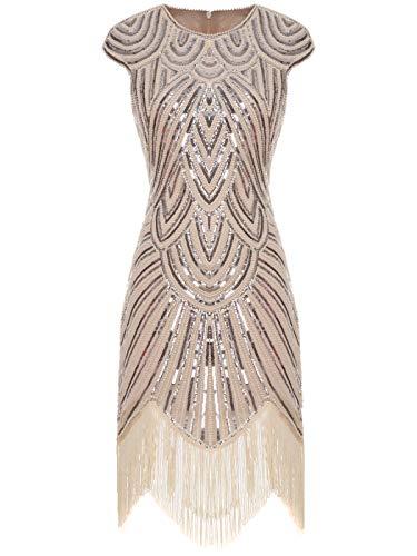 Fairy Couple 1920er-Flapper-Kleid mit Paillettenverzierung und Quastensaum FD20S002 Gr. Small, Ein Champagner