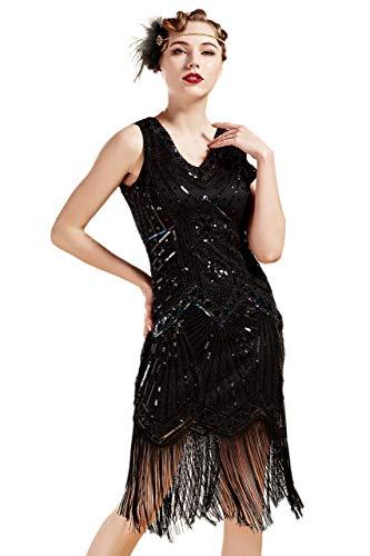 BABEYOND Damen Flapper Kleider voller Pailletten Retro 1920er Party Damen Kostüm Kleid Glamourös Schwarz, S