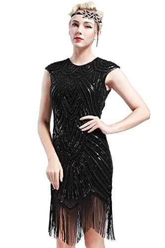 BABEYOND Damen Kleid voller Pailletten 20er Stil Runder Ausschnitt Inspiriert von Great Gatsby Kostüm Kleid (M (Fits...