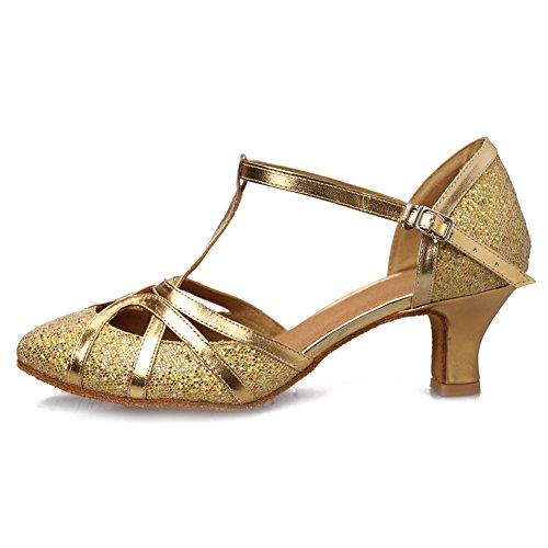 HROYL Damen Tanzschuhe/Latin Dance Schuhe Glattleder Ballsaal Modell-D5-511 Gold 38.5 EU