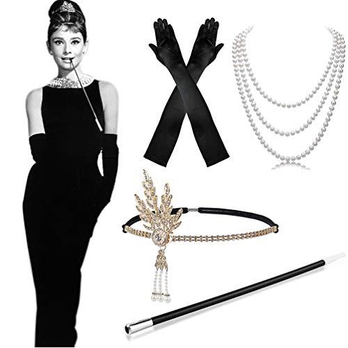 MMTX 1920s Kostüm Damen Flapper Accessoires Set 20er Jahre Halloween Kostümzubehör Kleid Große Gatsby Zubehör Retro...