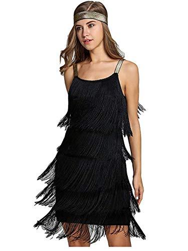 keland Damen Flapper Kleid - 1920s Great Gatsby Kostüm Fransen Kleid Charleston Abendkleid mit Stirnband (Schwarz, XS)