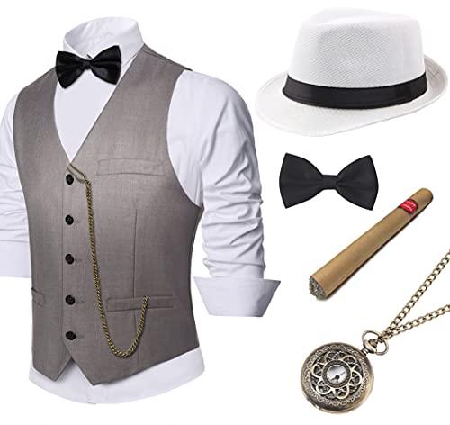 Coucoland 1920s Accessoires Herren Mafia Gatsby Kostüm Set inklusive Panama Gangster Hut Herren Weste Halsschleife...