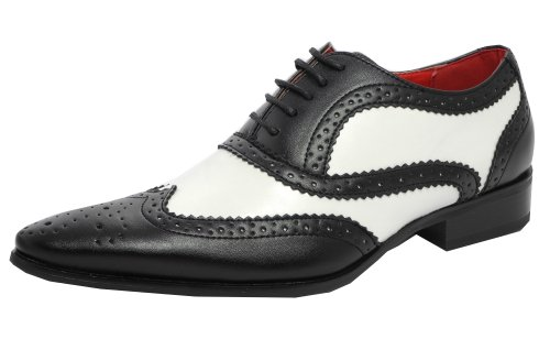 Men's Leather Look Spats Brogues Gatsby Shoes BLACK WHITE SIZE 12/46