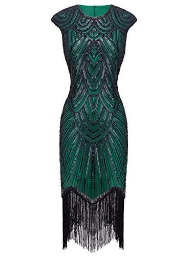 Fairy Couple 1920er-Flapper-Kleid mit Paillettenverzierung und Quastensaum FD20S002 Gr. Small, Ein grünes Schwarz