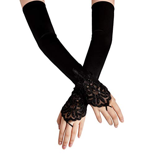 SAVITA Abendhandschuhe Satin Handschuhe Lang Opernhandschuhe Tanzhandschuhe 1920 Handschuhe für Frauen Mädchen...