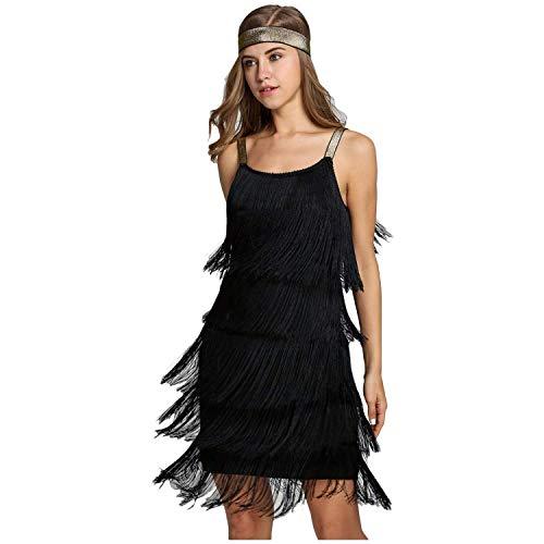 keland Damen-Cocktailkleid mit Fransen und Riemen fügt die Kleidung in EIN ärmelloses Kleid mit knielangem Stirnband...