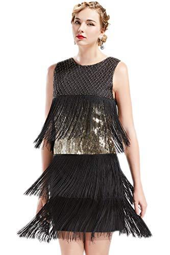 ArtiDeco 1920s Charleston Kleid Damen Knielang Cocotail Party Kleid 20er Jahre Flapper Damen Gatsby Kostüm Kleid...