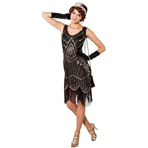 Kostüm 20er Jahre Deluxe, Gr S/M, Kleid gold/schwarz Paillettenkleid mit Fransen