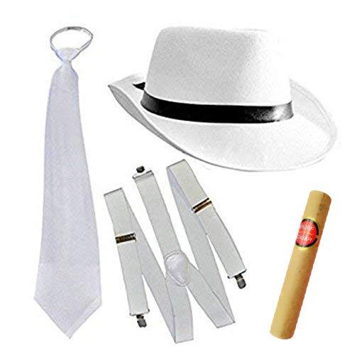 thematys Al Capone Mafia Gangster Hut + Krawatte + Hosenträger + Cohiba Zigarre - 20er Jahre Kostüm-Set für Damen &...