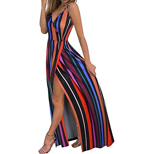 Damen Sommerkleid Mode V-Ausschnitt Ärmellose Sling Blumendruck Strandkleid Lässig Spaghettibügel Bodenlanges langes...