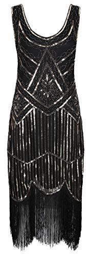 Ro Rox 1920er Jahre Great Gatsby Kleid - Schwarz & Gold (XL - 42)