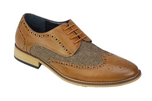Xposed Herren Klassische Gatsby Stil Tweed Herringbone Formelle Brogue Schuhe Oxford Schnürschuhe [A2312H, 8 UK,...