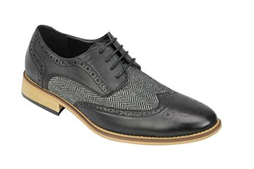 Xposed Herren Klassische Gatsby Stil Tweed Herringbone Formelle Brogue Schuhe Oxford Schnürschuhe [A2312H, 9 UK,...