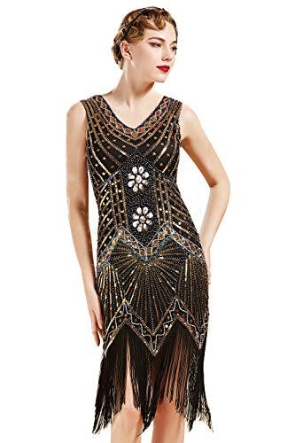BABEYOND Damen Flapper Kleider voller Pailletten Retro 1920er Party Damen Kostüm Kleid Gold, S