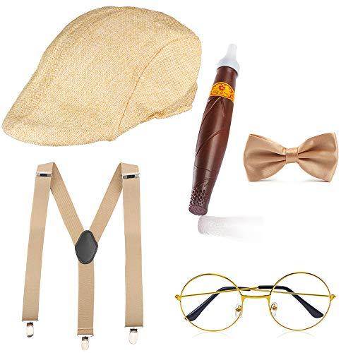 Haichen 1920er Jahre Herren Gatsby Gangster Kostüm Zubehör Set - Gatsby Newsboy Baskenmütze Hut Hosenträger Pre...