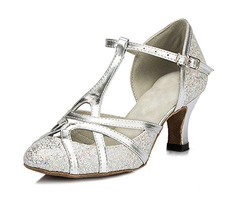 Minitoo qj6133Damen Geschlossen Zehen High Heel PU Leder Glitzer Salsa Tango Ballsaal Latin t-strap Dance Schuhe,...