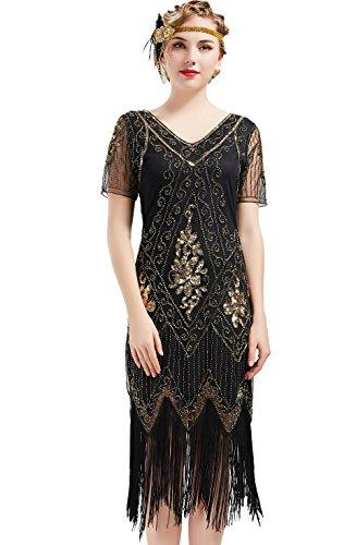 ArtiDeco 1920s Kleid Damen Flapper Kleid mit Kurzem Ärmel Gatsby Motto Party Damen Kostüm Kleid (Schwarz Gold, S)